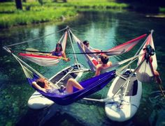 This Hammock Boat Lets You Relax In Up To 4 Hammocks While Floating On a Lake or River