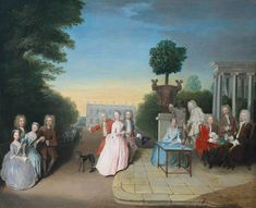 Philip Mercier, The Schutz Family and their Friends on a Terrace Tate Britain. In this emblematic marriage portrait, the groom in the centre, probably Augustus Schutz, leads his bride towards his family as she takes a backward glance at her own. William Hogarth, Art Terms, Tate Britain, Tate Gallery, White Horses, Art Uk, Old Master, Family Portraits, 18th Century
