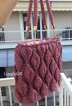 Crochet Women's Hand Bag Shoulder Bag 3 D Leaf Pink Purple Color Macrame Cord Bags&Purses