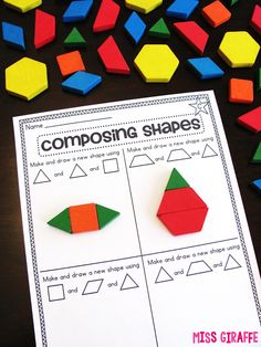 Composing Shapes is such a fun topic in first grade and kindergarten geometry! Learning how to compose and shapes is fun because, well. First Grade Activities, 1st Grade Math, Grade 1, Math Activities, Math Worksheets, 1st Grade Homework, Austin Activities, Math Resources, Teaching Shapes
