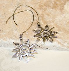 Silver sun long dangle earrings Bridesmaid by CharmingLifeJewelry, $15.00