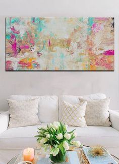 Abstract Aqua Salmon Print from original painting, Large Abstract Painting, Pink…