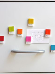 Use Pantone Paint Chips to make candy-colored magnets for your fridge. #crafts #diy #kitchens
