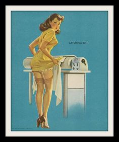 "GIL ELVGREN Laundry Pin Up Girl ""Catching On"", Vintage Cheesecake Wall Decor Litho Art Print By Louis F. Down. $24.95, via Etsy."