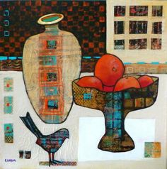 A Checkered Past - Linda Bell Collage Artist The bowl and the bird are made of papers produced by using my Gelli plate
