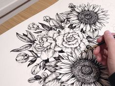 Illustration ink flora sunflower artists on tumblr Scientific ...