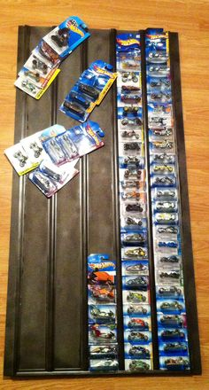 Hotwheels display board W/ pvc dividers bought from Home Depot