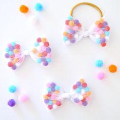 READY TO POST Rainbow Pom Pom Bow Hair Clip by LittleMissCharlie