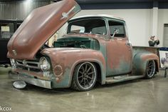 """The """"Effin Confused"""" '56 Ford F100 is powered by a Ford Racing 427 small block mated to a Bowler 4R70W trans. It rides on a No Limit Engineering Big 10 chassis, RideTech coilovers, Wilwood Disc Brakes, and Toyo R888 tires on 19x9.5/20x11.5 Forgeline RB3C wheels finished with Matte Bronze centers & Polished outers. See more at: http://www.forgeline.com/customer_gallery_view.php?cvk=1611  #TruckTuesday #Forgeline #RB3C #notjustanotherprettywheel #madeinUSA #Ford #F100"""