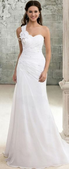 chiffon wedding dress - this is so beautiful in its simplicity. i would like it with two straps other than that its a beautiful dress!
