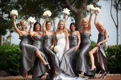 Metallic Bridesmaids and White Flowers
