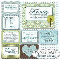 Family Pocket Cards 3x4 Project Life Style by DigiScrapDelights Becky Higgins inspired Pocket Cards #blue #green| Love the design and colors of this package.