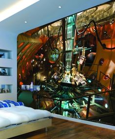 Dr Who Inside of Tardis Mural (4 Inside of Tardis) - Murals Murals - Officially licensed Dr Who mural – showing in stunning detail the interior of the Tardis, perfect to launch your very own space saga.  Mural size 243.84cm x 304.80 cm ((8ft x 10ft).  SORRY SAMPLES NOT AVAILABLE. Paste the wall.