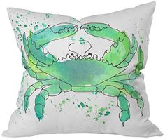 Seafoam Green Crab Indoor Throw Pillow, Medium DENY Designs