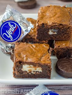 Peppermint Pattie Brownies: Rich, dense brownies stuffed with York Peppermint Patties. The perfect treat for mint chocolate lovers!