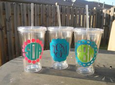 Personalized Acrylic Tumbler by Tootlebugs on Etsy Vinyl Crafts, Vinyl Projects, Personalized Tumblers, Monogram Tumblers, Big Little Gifts, Acrylic Tumblers, Circle Monogram, Silhouette Cameo Projects, Cricut Vinyl