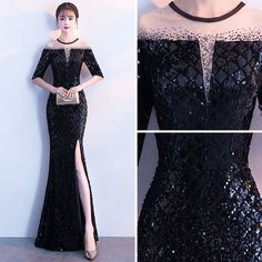 Sexy Black Evening Dresses 2018 Trumpet / Mermaid Sequins Split Front Scoop Neck Sleeves Ankle Length Formal Dresses Source by sellah Black Evening Dresses, Elegant Dresses, Sexy Dresses, Cute Dresses, Beautiful Dresses, Fashion Dresses, Dresses With Sleeves, Formal Dresses, Homecoming Dresses