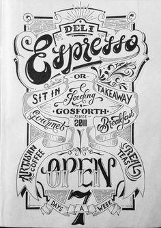 Deli Espresso Window Sign by Ashley Willerton, via Behance