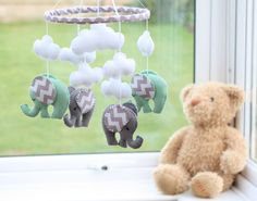 Baby Mobile -  Nursery Mobile - Felt Mobile - Chevron Grey/Mint Elephant Mobile -  MADE TO ORDER by FlossyTots on Etsy https://www.etsy.com/listing/232916539/baby-mobile-nursery-mobile-felt-mobile