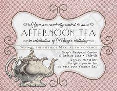 Printable Tea Party Invitation, Birthday Shower, Vintage Teapot, Pink Victorian : cyanandsepia.etsy.com