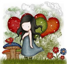 Sweet love by Suzanne Woolcott - mushrooms, hearts and flowers