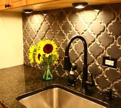 Gorgeous quatrefoil backsplash!       http://www.missionstonetile.com/products/199-Beveled-Arabesque-Glazed-Ceramic-Tile/beveled-arabesque-up-in-smoke
