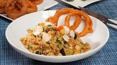 Receta de Arroz con verduras y aros de cebolla #recetas #arroz