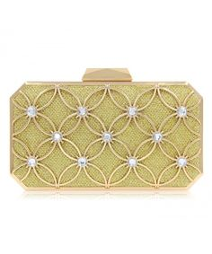 Evening Bag Clutch Purse For Wedding Bridal With Crystals - Gold -  C718C56AHDQ dc40c16ab77e