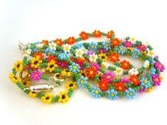 Beaded Sunflower Bracelet Seed Bead Bracelet by JewelleryByJora 5.73