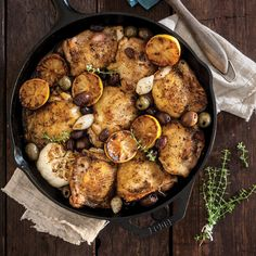 Greek Olives, Cast Iron Recipes, Quick Easy Dinner, Greek Chicken, Cast Iron Cooking, Vegetable Sides, Chicken Thighs, Main Dishes, Chicken Recipes