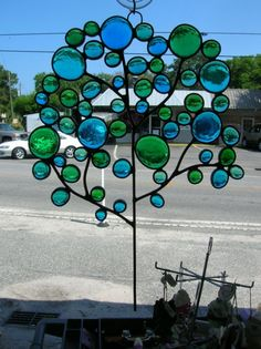 Small Bubble Tree in Blues and Greens by PaneintheGlassGifts, $75.00