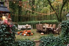 Elegant Autumn Dinner...John Boy and I were lucky enough to be invited to a party that looked similar to this...OMG! I will never forget how wonderful it was...with servers, great wine, outdoors, fire, and great friendship!