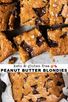 Gluten Free & Keto Peanut Butter Blondies - Keto Brownies - Ideas of Keto Brownies - Gluten Free & Keto Peanut Butter Blondies Low Carb Sweets, Low Carb Desserts, Dessert Recipes, Healthy Desserts, Cupcake Recipes, Ketogenic Recipes, Gluten Free Recipes, Low Carb Recipes, Ketogenic Diet