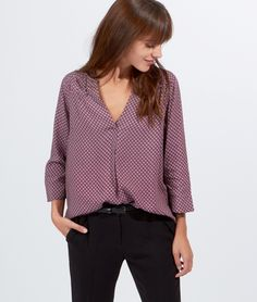 Blouse col tunisien, manches 3/4