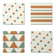 Círculos, linhas e triângulos - I | Desenho/Estampa de @danistarart | A venda na @colab55 | #círculos #linhas #triangulos #geométrico #geometric #verde #laranja #green #orange #ímãs #portacopos #geladeira #decoração #estampa #pattern