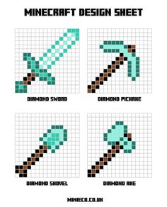 Minecraft designs for HAMA beads - Craft for Boys Minecraft Kunst, Minecraft Templates, Minecraft Construction, Hama Beads Minecraft, Minecraft Bedroom, Minecraft Blueprints, Minecraft Designs, Minecraft Crafts