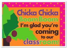 "Thinking of using this as a guide for our Closing Program printed program.... but words would say something else.... maybe ""Chicka Chicka Boom Boom, watch these kids go Zoom Zoom!"". Perhaps have our school's letters climbing up the tree   (vca  pre k)?"