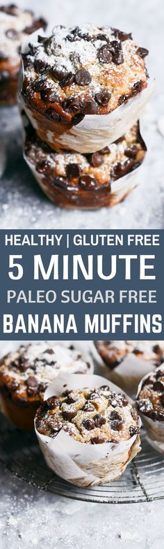 Healthy Gluten Free Banana bread breakfast muffins made in 5 minutes! Easy sugar free, paleo, and grain free breakfast recipe.   #deser #wypieki #glutenfree