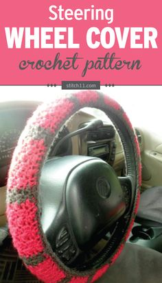 This Steering Wheel Cover crochet pattern will fit a wheel that's 47 inches around the outside with 4 inches in girth. You will need to adjust depending on the size of the steering wheel.