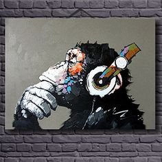 Funny Monkey -Animal Oil Painting Wall Art -Modern Canvas Art Wall Decor-with Stretched Frame Ready to Hang