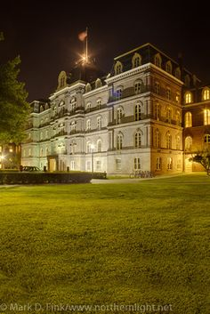 This would be a good night view of Wolf Hall from the side.