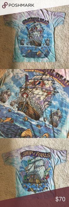 "Vintage Grateful Dead Ship of Fools tie-dye 93 Vintage Grateful Dead tie-dye shirt from 1993. This shirt is in ""vintage condition"", all cracking & damages should be expected when purchasing vintage. Measures 27"" collar to bottom & 23"" pit to pit, tag says XL but fits like a large Vintage Tops Tees - Short Sleeve"