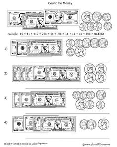 Free printable black & white worksheet. Adding Coins and Bills. Counting Money.