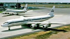 Perth Airport, IAS Cargo Airlines of Gatwick had a contract to carry frozen WA beef and lamb from Perth to  Rihad, Saudi Arabia during 1976-1978.  Their DC-8s G-BDDE & G-BDHA were at Perth on 12 March 1977. Image Geoff Goodall