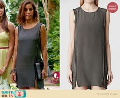 Marisol's grey embellished shift dress with side slits on Devious Maids Ana Ortiz, Devious Maids, Maid Outfit, Dark Brown Eyes, Get Dressed, Nice Dresses, Fashion Beauty, Dress Up, Fashion Outfits