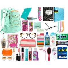 What to keep in a school backpack~minus some stuff for me like the laptop and Starbucks...