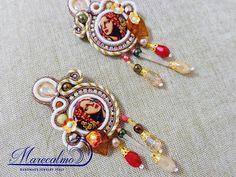 Portrait earrings Soutache Earrings tiles earrings azuleios
