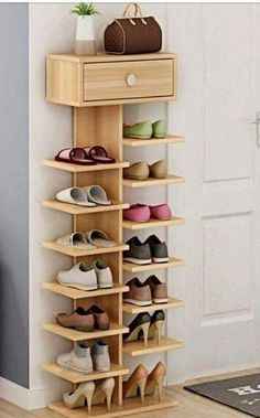 Whichever shoe storage ideas you choose in consider not only their functionality, but also their home decor wow factor.f you love the industrial décor look, this is a great DIY shoe rack to…Daha fazlası Diy Shoe Rack, Wood Shoe Rack, Shoe Rack Closet, Diy Shoe Shelf, Wood Shoe Storage, Shoe Storage For Front Door, Shoe Racks For Closets, Shoe Rack Pallet, Shoe Organizer Closet