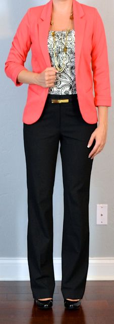 Final Day conf. coral jacket, print blouse, black pants.  Will wear black and white dotted cotton top
