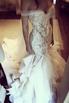 Mermaid off shoulder wedding gowns with appliqués train, fashion wedding dresses.
